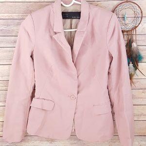 Zara Blush Pink Blazer One Button Modern Fitted S